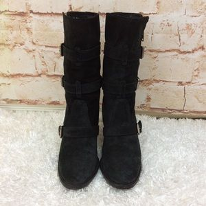 J. Crew mid calf suede leather buckle detail boots
